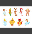 children dressed as winter holidays symbols vector image vector image
