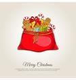 christmas banner with santa sack gifts vector image