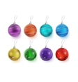 Christmas multicolor balls with bows isolated on vector image vector image