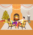 couple sitting near fireplace xmas new year vector image vector image
