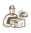delivery service courier holds parcel young man vector image