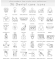 Dental care ultra modern outline line icons vector image vector image