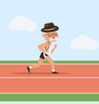 elderly man attractive running in racetrack vector image