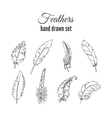 feathers set Hand drawn ethnic elements vector image vector image