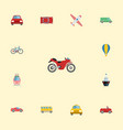 flat icons boat carriage bicycle and other vector image vector image