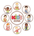 flat multinational kids zone portrait vector image