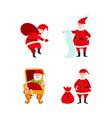 flat santa claus scenes set vector image vector image