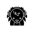funny hedgehog black icon sign on isolated vector image