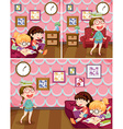 Girls reading book in living room vector image vector image