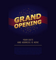 grand opening 3d gold word sign background vector image