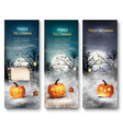 group of halloween banners with pumpkins and moon vector image vector image