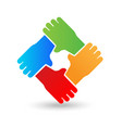 hands embracing each other teamwork unity peace vector image
