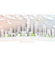 hong kong china city skyline in paper cut style vector image vector image