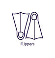 icon of diving flippers on a white vector image vector image