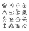 investment profit icon set in thin line style vector image