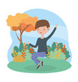 jumping young man grass nature landscape vector image