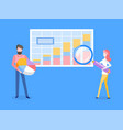 man and woman with infographics on board analyze vector image vector image