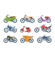 modern and retro motorbikes flat set vector image vector image