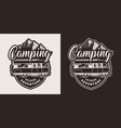 monochrome camping emblem vector image