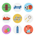 nine color flat icon set - fitness vector image vector image