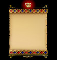 old parchment with gold gothic ornament and vector image