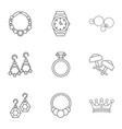 princely jewellery icons set outline style vector image vector image