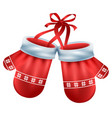 red mittens pair santa isolated on white vector image