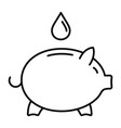 save piggy bank water icon outline style vector image vector image