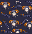 seamless pattern square cartoon black sheep vector image