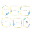 set geometric frame with leaves watercolor vector image vector image