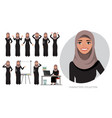 set of emotions for arabic business woman vector image vector image