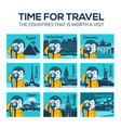 set of flat travel icons countries landmarks vector image
