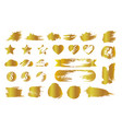 set of golden smudges and lottery scratches vector image