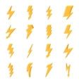 Set of yellow lightning icons vector image vector image