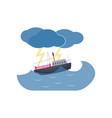 ship swimming in sea thunderstorm and lightning vector image vector image