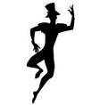 silhouette dancer joker with top hat dancing vector image vector image