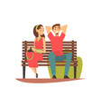 smiling young man and woman sitting on bench in vector image vector image