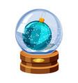 snow globe with shiny snow and christmas ball vector image vector image