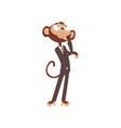 thoughtful monkey businessman cartoon character vector image vector image