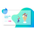 tiny characters decorating huge ice cream in cup vector image vector image