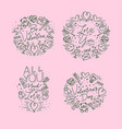 valentines day flat monograms pink vector image