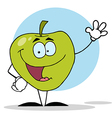Waving Green Apple Character vector image vector image