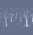 winter tree landscape with falling snowflakes vector image