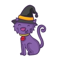 Witch cat cartoon funny collection stock vector image