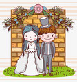 woman and man wedding with brick wall vector image vector image