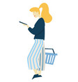 woman with supermarket basket and smartphone food vector image