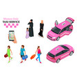 women only taxi service concept smartphone and vector image vector image