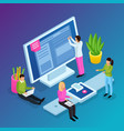 workspace interfaces isometric composition vector image vector image