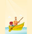 young caucasian white man riding a kayak vector image