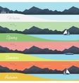 Four Seasons Banners with Forest and Mountains vector image